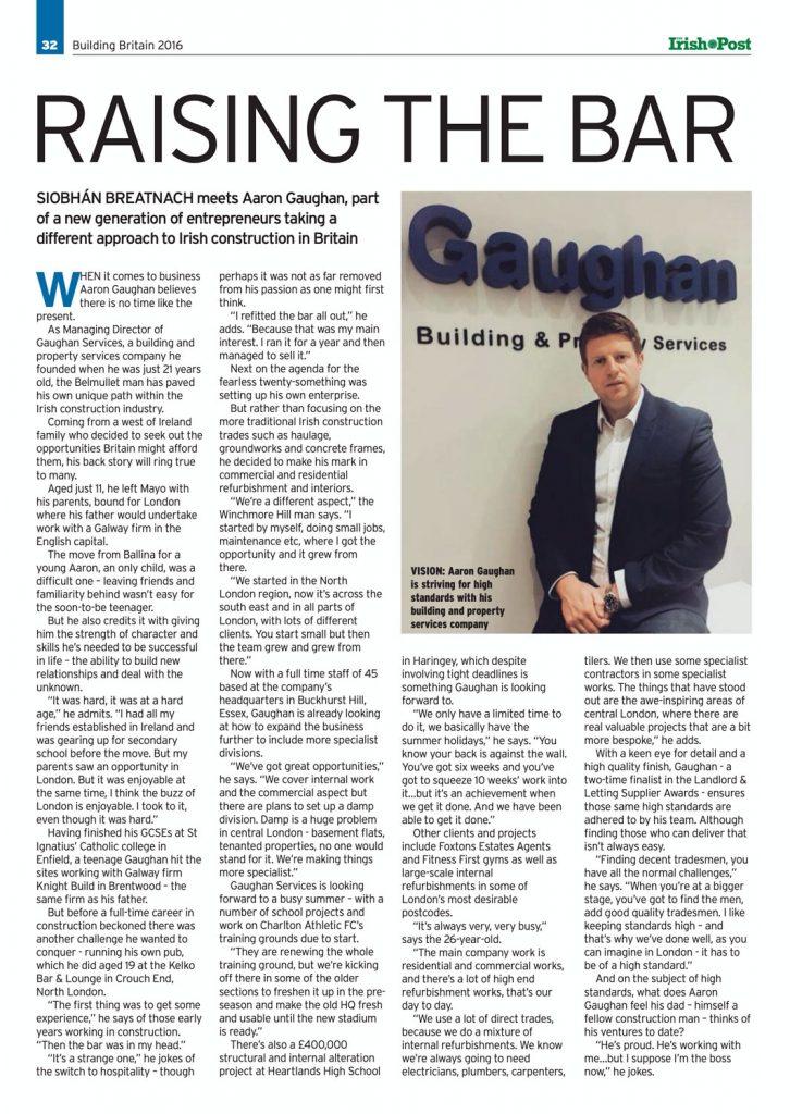 Aaron Gaughan Irish Post Interview